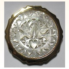 Stratton Vintage Carved Mother-of-Pearl Romantic Theme Compact ~ Gorgeous, Unused