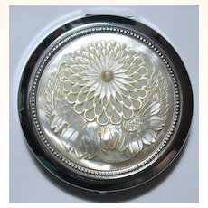 Gorgeous Carved Mother-of-Pearl Japanese Chrysanthemum Flower Compact