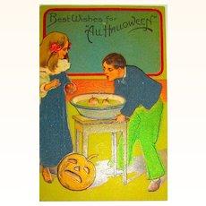 Rare German P.F.B. Halloween Postcard ~ Hand Painted Graphics