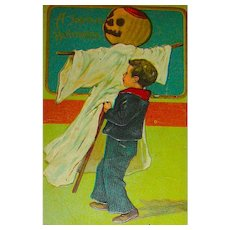Halloween 778 Series - Boy with Ghost JOL Scarecrow Postcard