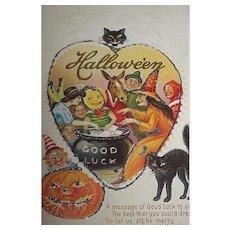 HTF Stetcher Halloween Postcard ~ Witch's Party w Jesters, Fairy, Donkey, Cats