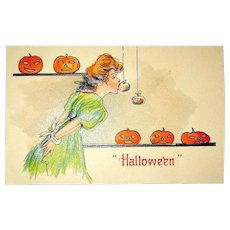H.B.Griggs Halloween Postcard ~ Pretty Lady Plays the Apple Game