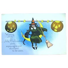 Antique Halloween Unused Postcard ~ Witch w Cat Sit on Crescent Moon