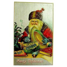 Antique Christmas Postcard ~ Great Santa Claus Image ~ Sorting Toy Soldiers ~ Silver Background