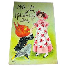 H.B. Griggs Halloween Postcard ~ Goblin Begs Girl To Be Her Beau