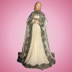 Vintage Artist Made OOAK Wax Lady Doll Figure ~ For Christmas Display