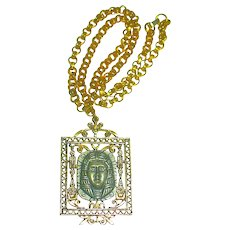 """ART"" Egyptian Revival Necklace w Pharaoh Pendant"