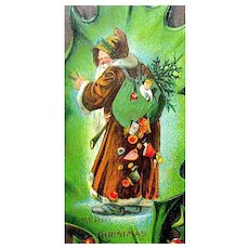 Early Santa Claus Postcard ~ Brown Robe, Falling Toys, Giant Holly Leaf Display