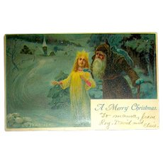 1906 Artist Signed Christmas Postcard ~ Weinachtsmann and Angel