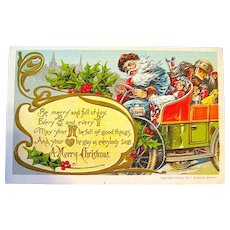 1907 German Christmas Postcard ~ Frenzied Santa Claus Drives Auto Overfilled w Toys