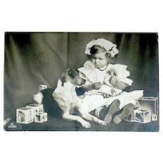 Swiss Girl, Doll, Jack Russell Terrier ~ Christmas Photo Postcard ~1906