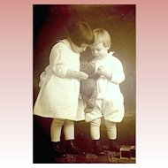 Original c. 1910 Studio Photograph - Sister, Brother, Early German Teddy Bear
