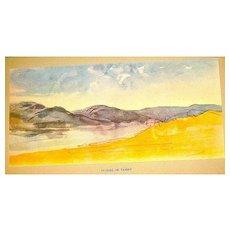 Original Eugene Delacroix 1947 Lithograph from Water Color Painting ~ 'PAYSAGE DE TANGER'
