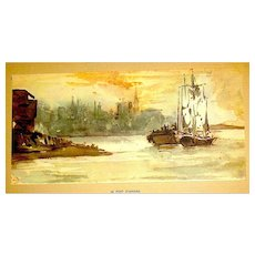 Original Eugene Delacroix 1947 Lithograph from Water Color Painting ~ LE PORT D' ANVERS