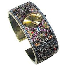 Gorgeous Retired Heidi Daus Pave Set Swarovski Crystal Watch Cuff ~ Unworn, MIBB
