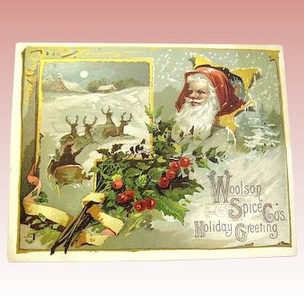 Large Antique Santa Claus w Reindeer Trade Card ~ Artist Signed ~ Lion Coffee