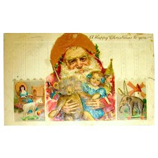 Rare Early German Santa Claus Postcard — Hair Beard, Cloth Hat, Three Scenes