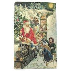Beautiful German GEL GOLD Christmas Postcard ~ Santa Claus Rides Toys Train, Excited Children
