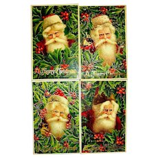 "After Christmas Sale:  Set of 4 ""Series 294"" German GEL Portraits of Santa Claus Postcards"