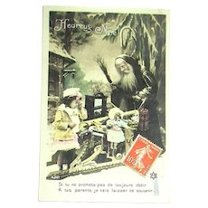 After Christmas Sale: 1908 French  Postcard ~ Weihnachtsmann with Tearful Girl, French BEBE DOLL