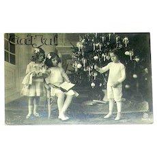 Real Photo Swedish Christmas Postcard ~ Children, Toys, Huge Christmas Tree