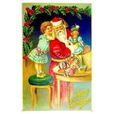 Antique German Christmas Postcard - Santa Claus, Girl Asks For Dolls