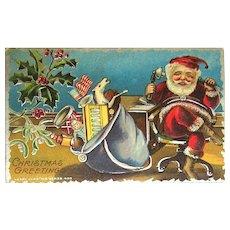 Antique Gnome Like Santa Claus Postcard ~ Heavy Silver
