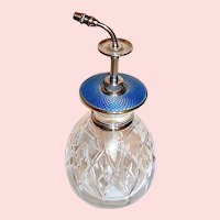 Superb Sterling Silver Blue Guilloche 30's English Scent / Perfume Bottle