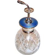Beautiful English Perfume Atomizer—Cut Crystal, Sterling Silver, Blue Guilloche Enamel