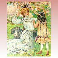 Beautiful UDB Easter Postcard - Art Nouveau Graphics, Mother w Child, Pitbul Dog, Cherry Orchard