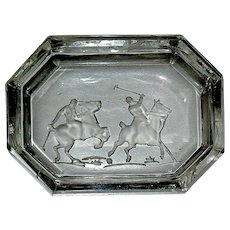 Unique Art Deco Hoffman Clear & Frosted Crystal Salt, Polo Players on Horseback