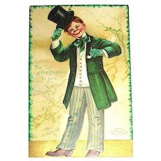 IAP Clapsaddle 1908 St.Patrick's Day Postcard ~ Grinning Irish Lad