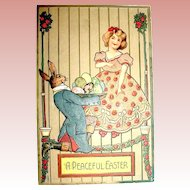 Precious Antique Easter Postcard—Humanize Rabbit Presents Pretty Eggs to a Girl