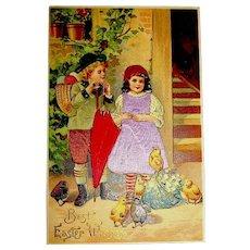 Silk Dressed Boy & Girl, Yellow & Brown Chicks German Easter Postcard