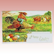 German Easter Postcard—Humanized Rabbit Rides Rooster in Race