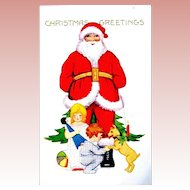 Whitney Christmas Postcard - Smiling Santa Claus, Children, Gifts and Dog