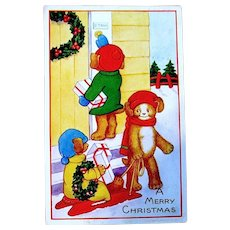 Whitney Fantasy Christmas Postcard - Dressed Teddy Bears Deliver Gifts