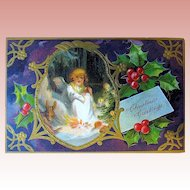 Beautiful German Christmas Postcard - Child Angel in Mystical Forest Setting