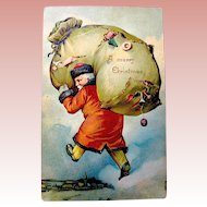 Antique Fantasy Christmas Postcard - Santa Claus In Clouds, Ripped Toy Bag (1 of 2)