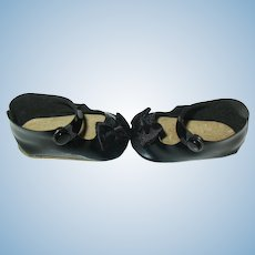 Vintage Black Leather Ankle Strap Shoes w Fabric Bows,  1 3/4""