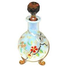 Bohemian 1890'S Art Glass Perfume Bottle - Oriental Scene - Reed Style Feet - Perfect