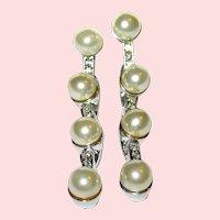 """Kenneth Lane Signed Early  3"""" Drop Faux Pearl & Rhinestone Earrings - 50% Sale"""