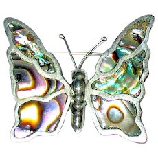 "Beautiful ""Gonzalez Sterling Mexico 925"" Marked Abalone Shell Butterfly Brooch"