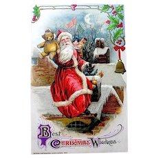 Winsch Smucker Christmas Postcard — Jolly Santa on Rooftop, Golliwogg, Toys & Teddy Bear