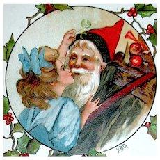 H.B. Griggs Antique Christmas Postcard — Gnome Like Santa Claus, Girl, Mistletoe