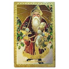 Antique German Robust Santa Claus w Umbrella Postcard — Heavy - Heavy - Gold