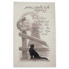 "Nash Sepia Colored Halloween Postcard - Cute ""Spookies"" Greeting, JOL & Cat"