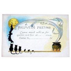 20's Halloween Party Invitation, Unused, Ghost, Bat, Cats, Full Moon, Cauldron