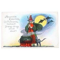 Halloween 20's Postcard, Unused, Witch Stilling Cauldron, Cat, Bats