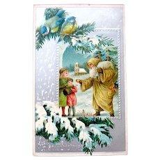 1908 German Christmas Postcard - Wonderful Santa Claus, Kids, Silver Foil